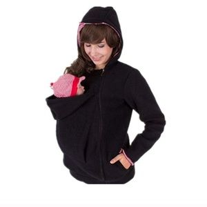 carry newborn baby in front pouch of coat